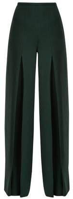 Roland Mouret Burton Wool Crepe Wide Leg Trousers - Womens - Green