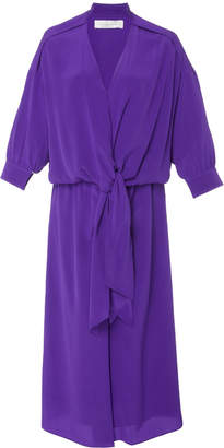 Victoria Beckham Victoria Tied Washed-Silk Shirt Dress