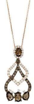 LeVian Le Vian Chocolate Quartz and Vanilla Topaz 14K Rose Gold Necklace