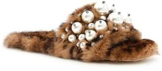 Miu Miu Leopard Print Rabbit Fur Slides