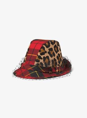 Michael Kors Tartan and Leopard Veil Hat