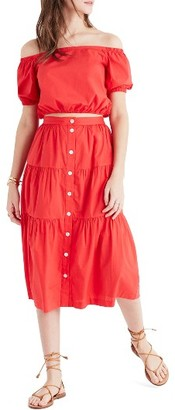 Women's Madewell Bistro Midi Skirt $98 thestylecure.com