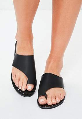Missguided Faux Leather Flat Studded Sandals