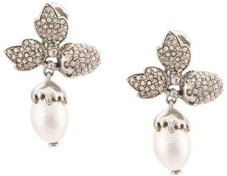 Oscar de la Renta Runway pave leaf acorn earrings