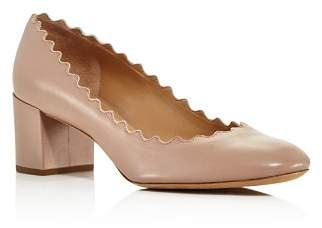 Chloé Women's Lauren Scalloped Leather Block-Heel Pumps