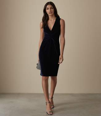 Reiss MOSAIC VELVET TWIST FRONT DRESS Midnight Navy