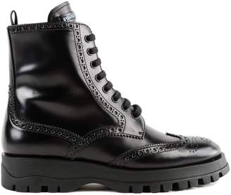 Prada Perforated Detail Lace-up Boots