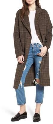 AVEC LES FILLES Double Face Plaid Wool Blend Coat