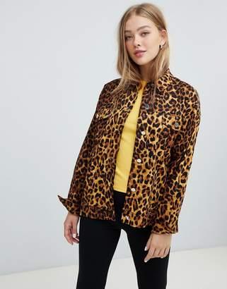 Daisy Street trucker shacket in leopard print