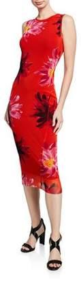 Fuzzi Fracture Sleeveless Floral-Printed Tank Dress