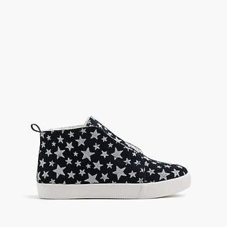 J.Crew Girls' furry slip-on sneakers in metallic stars