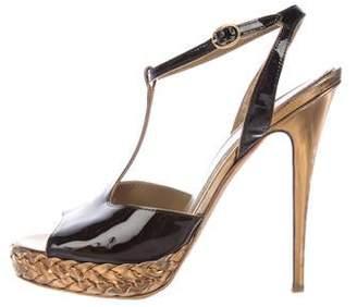 Saint Laurent Patent Leather T-Strap Sandals