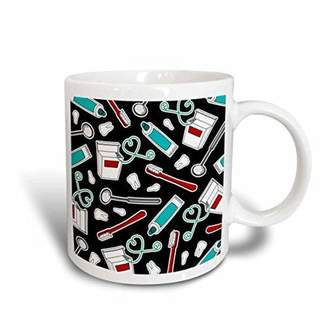 3dRose Cute Dentist Dental Hygienist Print Black, Ceramic Mug, 11-ounce