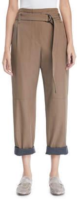 Brunello Cucinelli Contrast Roll-Cuff Wool-Gabardine Straight-Leg Pants