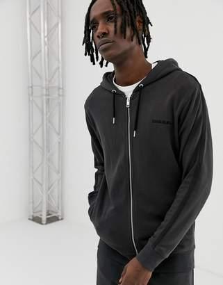 Diesel small logo lounge zip through hoodie in black