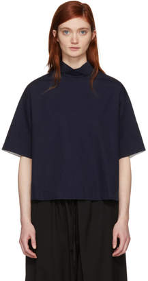Blue Blue Japan Navy High Neck Blouse