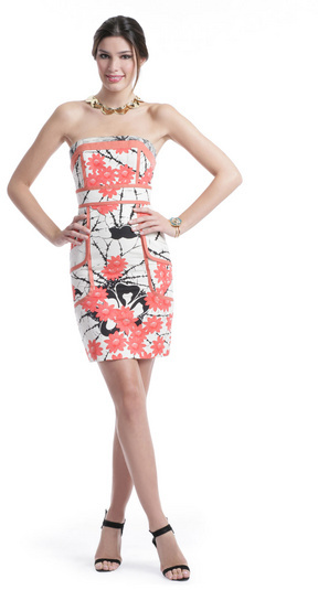 Tracy Reese Coral Floral Sheath Dress