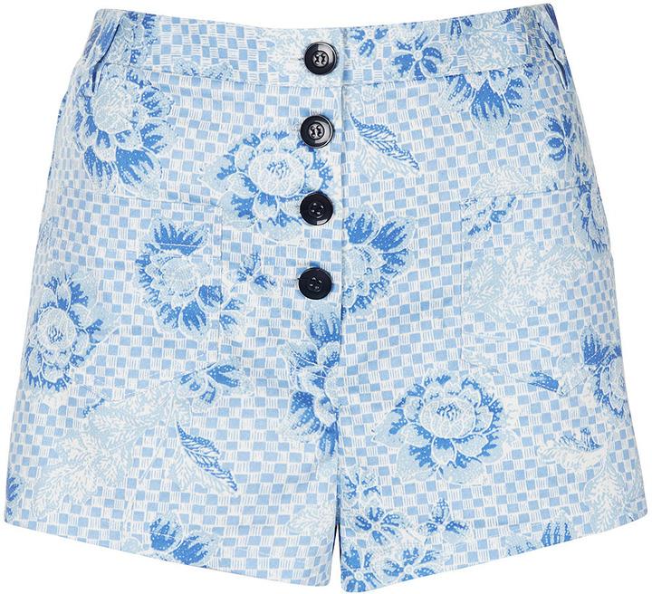 Topshop Checkerboard Print Shorts