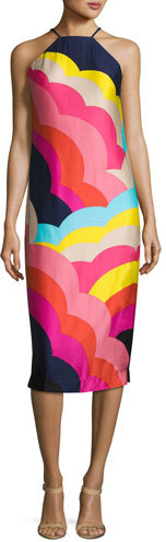 Trina Turk Vina 2 Sleeveless Abstract Satin Midi Dress, Multicolor