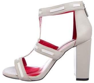 Charles Jourdan Leather Peep-Toe Sandals