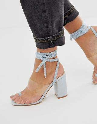 Public Desire Mia denim clear detail ankle tie heeled sandals