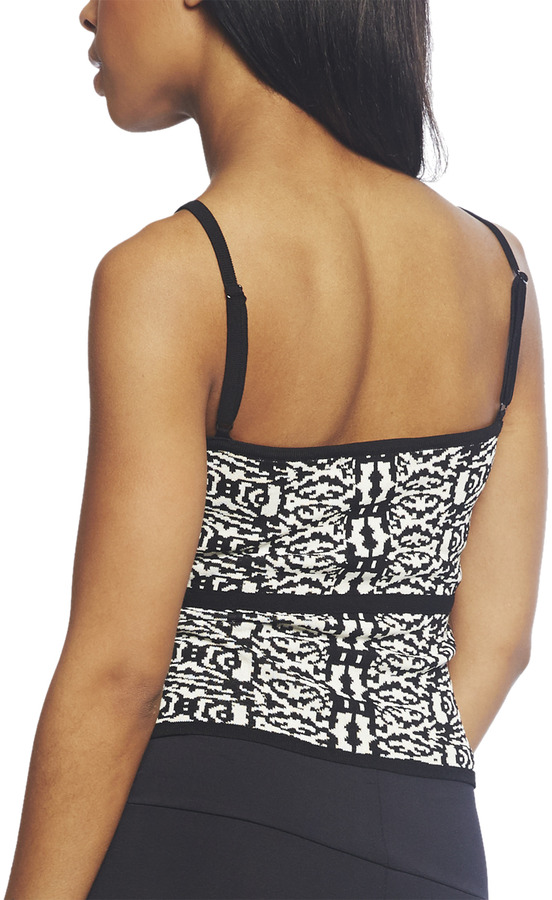 Arden B Printed Jacquard Knit Tank Top