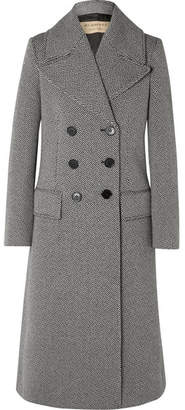 Burberry Herringbone Wool-blend Tweed Coat - Gray