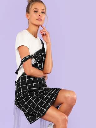 Shein Bib Pocket Front Grid Overall Dress