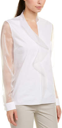 Elie Tahari Silk-Trim Blouse