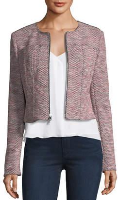Theory Ualana Z Beacon Tweed Zip-Front Cropped Jacket