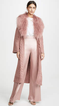 Cushnie Cable Knit Long Cardigan with Detachable Tibet Lamb