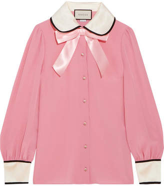 Gucci Faux Pearl And Bow-embellished Silk Crepe De Chine Shirt - Pink