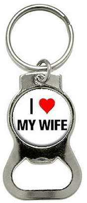 Nothing Specific I Love Heart My Wife Bottle Cap Opener Keychain Ring
