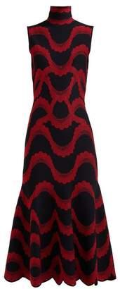 Alexander McQueen Wave Jacquard Scalloped Hem Midi Dress - Womens - Black Red