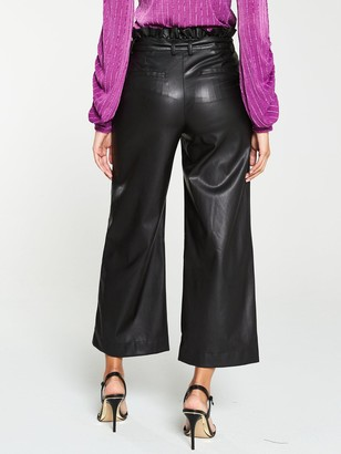 Very Faux Leather Belted Wide Leg Crop Trouser - Black