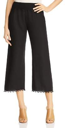Three Dots Linen Pom-Pom Trimmed Cropped Pants