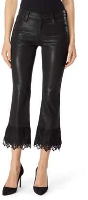 J Brand Selena Lace Hem Coated Crop Bootcut Jeans