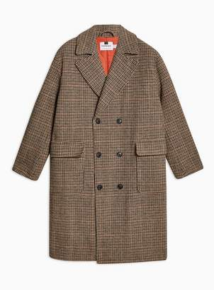 Topman Mens Brown Check Double Breasted Overcoat