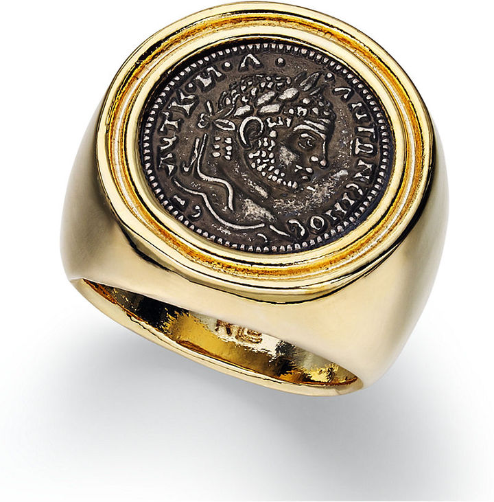 Lauren Ralph Lauren Ring, 14k Gold Plated Roman Coin Ring