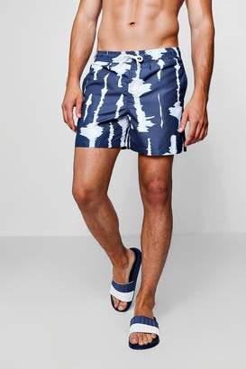 boohoo Navy Tie Dye Swim Shorts