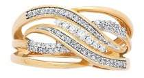 Lord & Taylor Diamond and 14K Yellow Gold Crisscross Ring