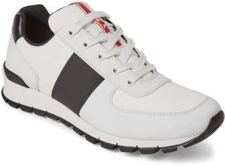 Prada White & Black Leather Low-Top Sneakers