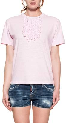DSQUARED2 Pink Ruffled Cotton Jersey T-shirt
