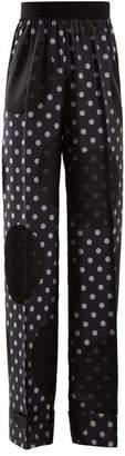 Maison Margiela High Rise Polka Dot Print Trousers - Womens - Navy Multi
