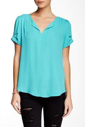 Daniel Rainn DR2 by Pinch Sleeve Split Neck Blouse