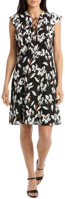 Basque Bold Bloom Piped Reverse Dress
