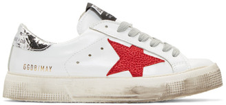 Golden Goose White and Silver May Sneakers