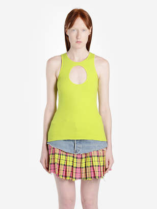 Vetements ACIDE GREEN TANK TOP WITH HOLE
