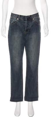 Christian Dior Distressed High-Rise Straight-Leg Jeans