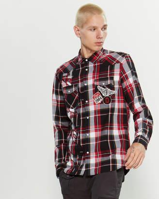 Desigual Regular Fit Plaid Patchwork Long Sleeve Sport Shirt